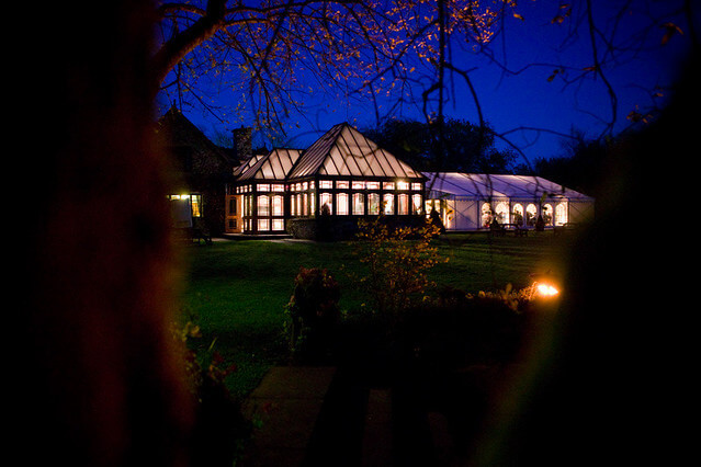 The garden room and marquee at night