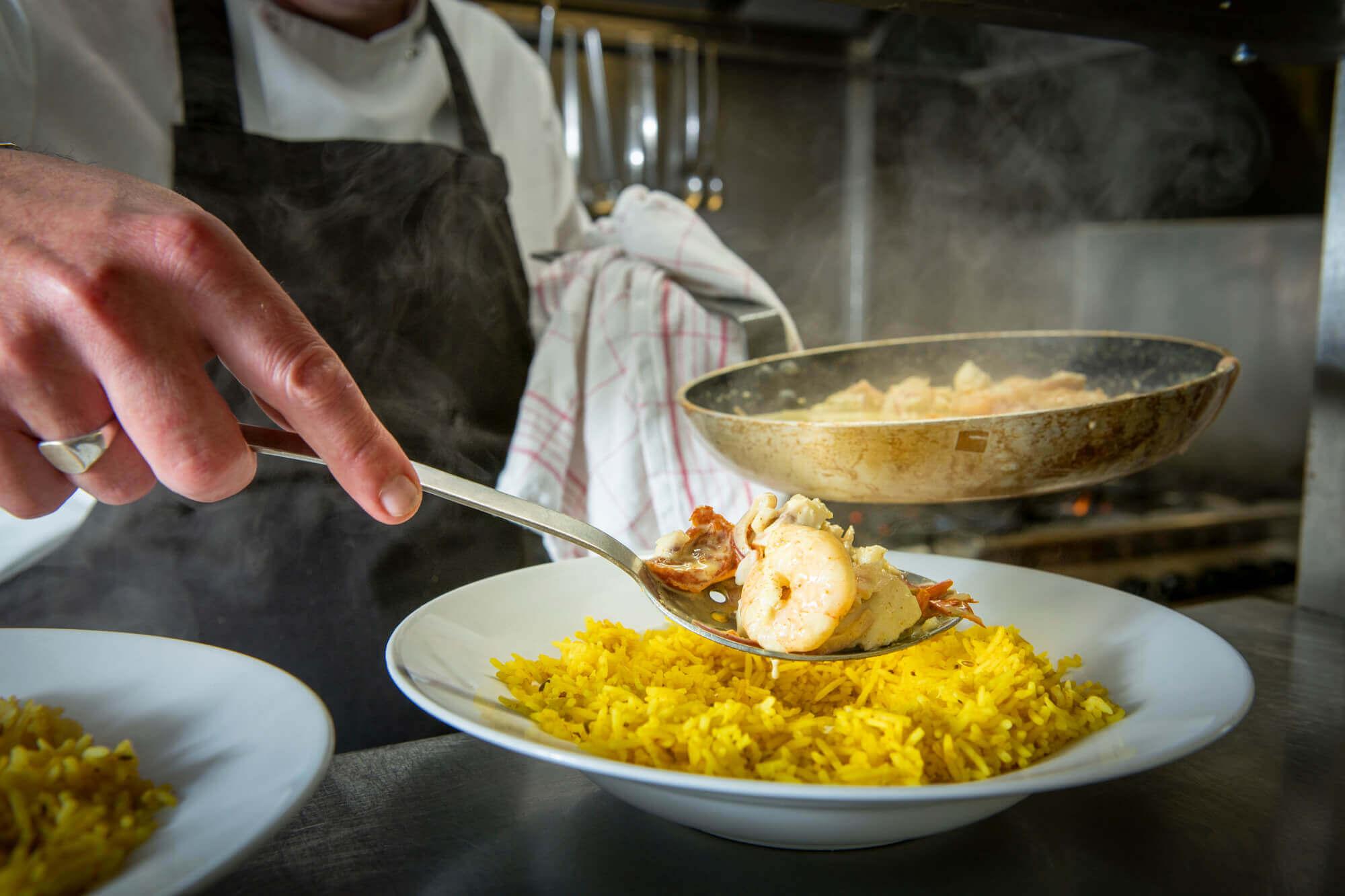 Plating up the Brixham Monkfish & King Prawn Curry