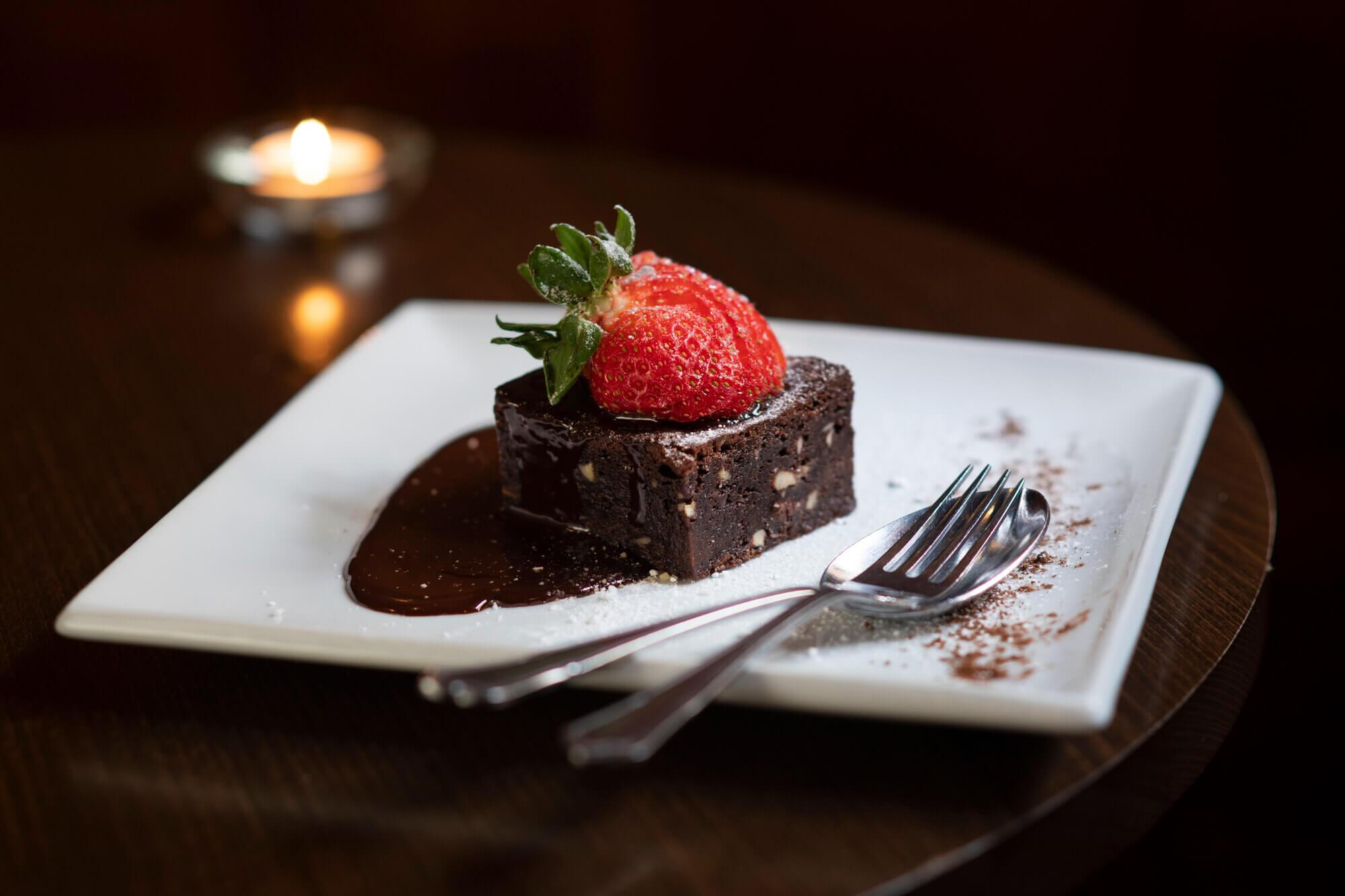Chocolate & Hazelnut Brownie, chocolate sauce