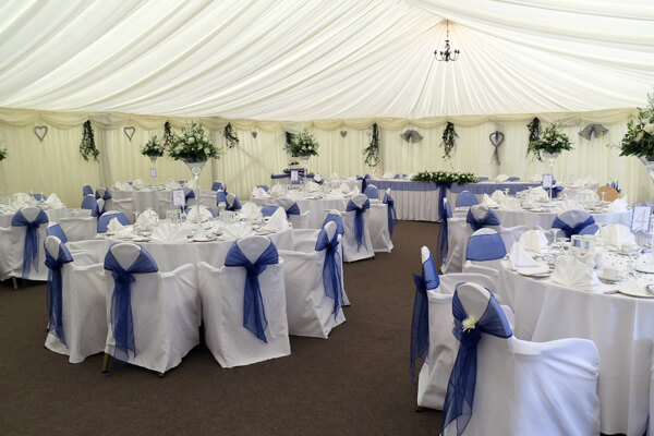 The marquee ready for a wedding reception