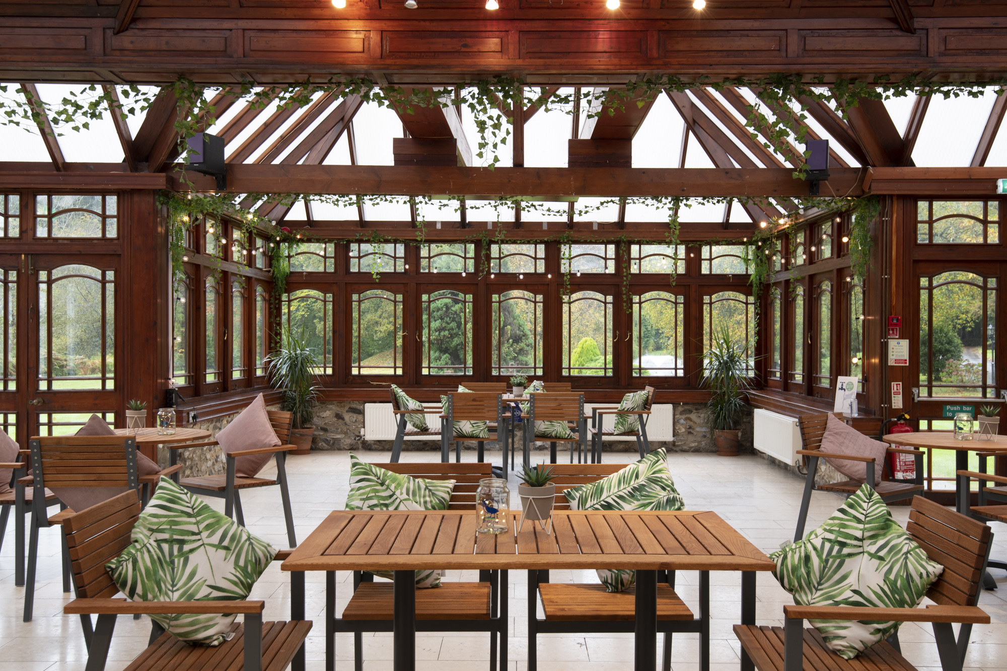 The beautiful garden room overlooking the front lake